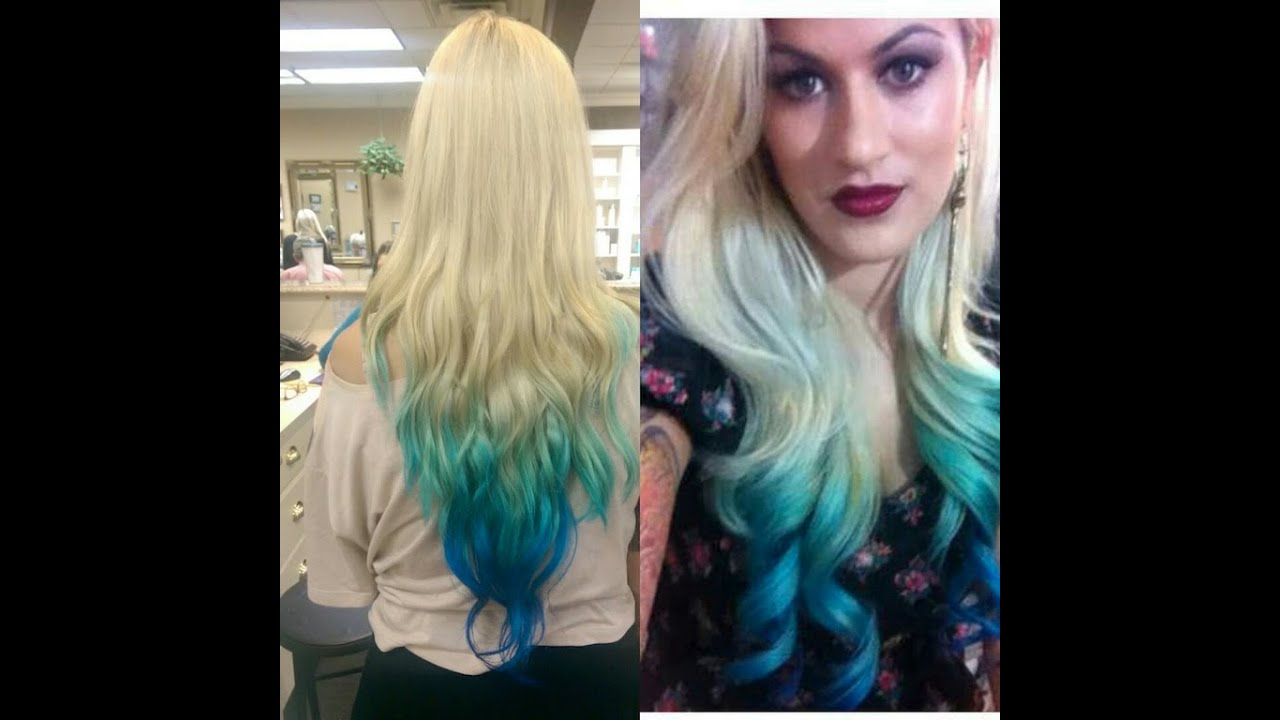 colored ombre dip-dye hair