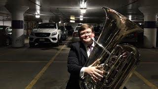 Parking-garage tuba practice with Derek Fenstermacher