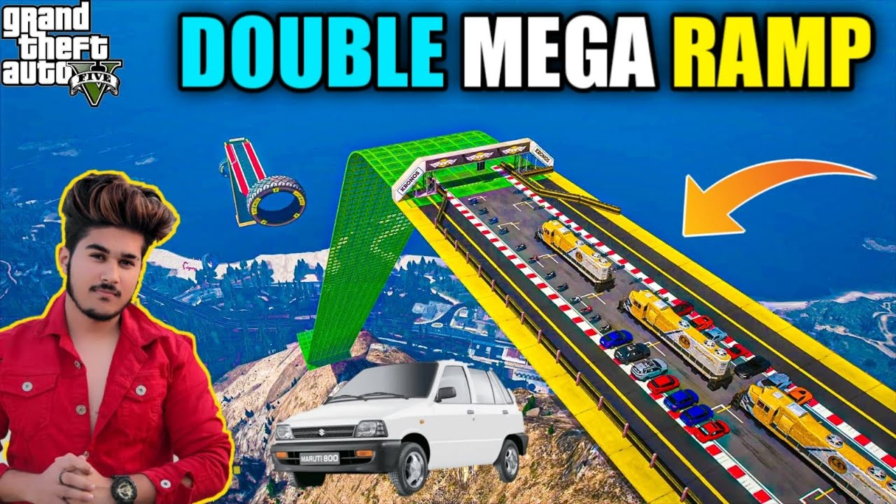 GTA 5 : TODAY I AM DOING DOUBLE MEGA RAMP CHALLANGE WITH INDIAN CARS