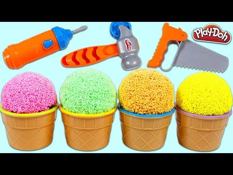 Opening Play Foam Ice Cream Bowl Surprise Toys with Play Doh Construction Fun Playset Tools!