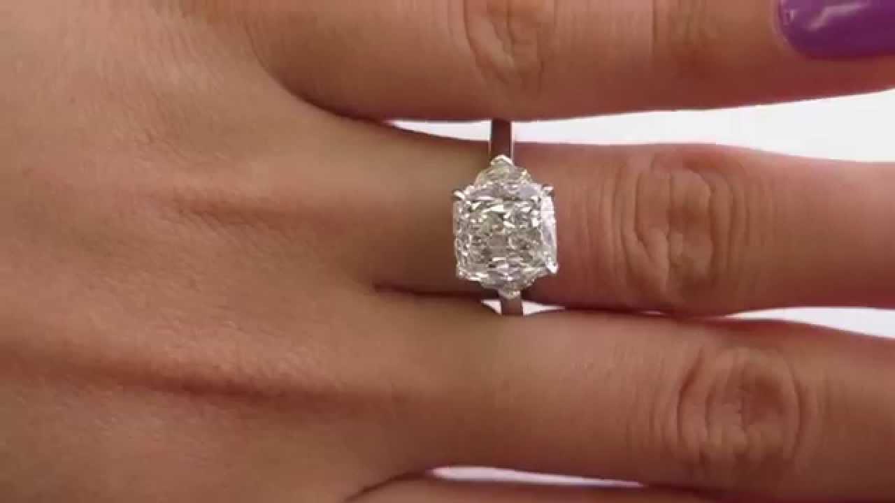 3 43ct Cushion Cut Diamond 3 Stone Engagement Platinum Ring