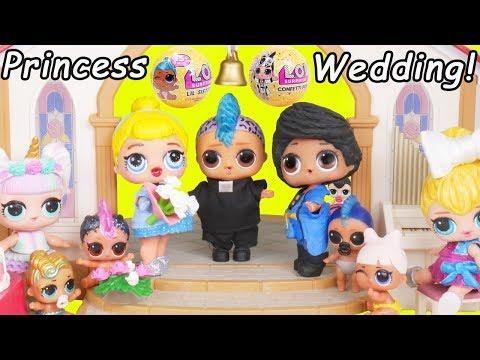 Cinderella Princess LOL Surprise Custom Dolls Wedding + Married to Prince with Unicorn Lil Punk Girl