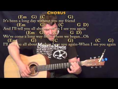 See You Again Wiz Kahlifa Strum Guitar  Lesson in Em with ChordsLyrics