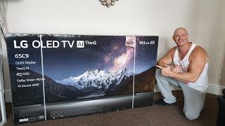 2019 65'' LG C9 OLED,unboxing,wall mounting & demo
