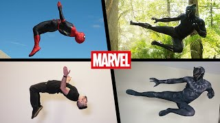 ALL Marvel Stunts In Real Life (Spiderman, Black Panther, Deadpool)