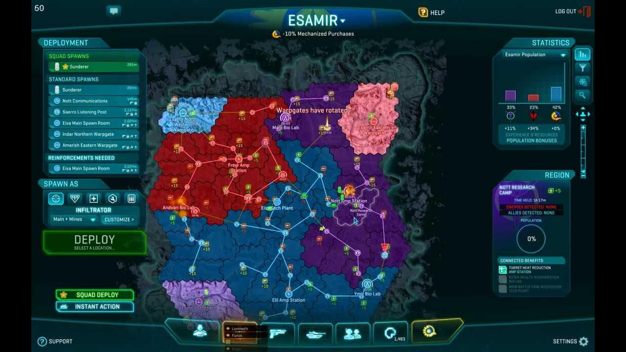 how to change servers on planetside 2
