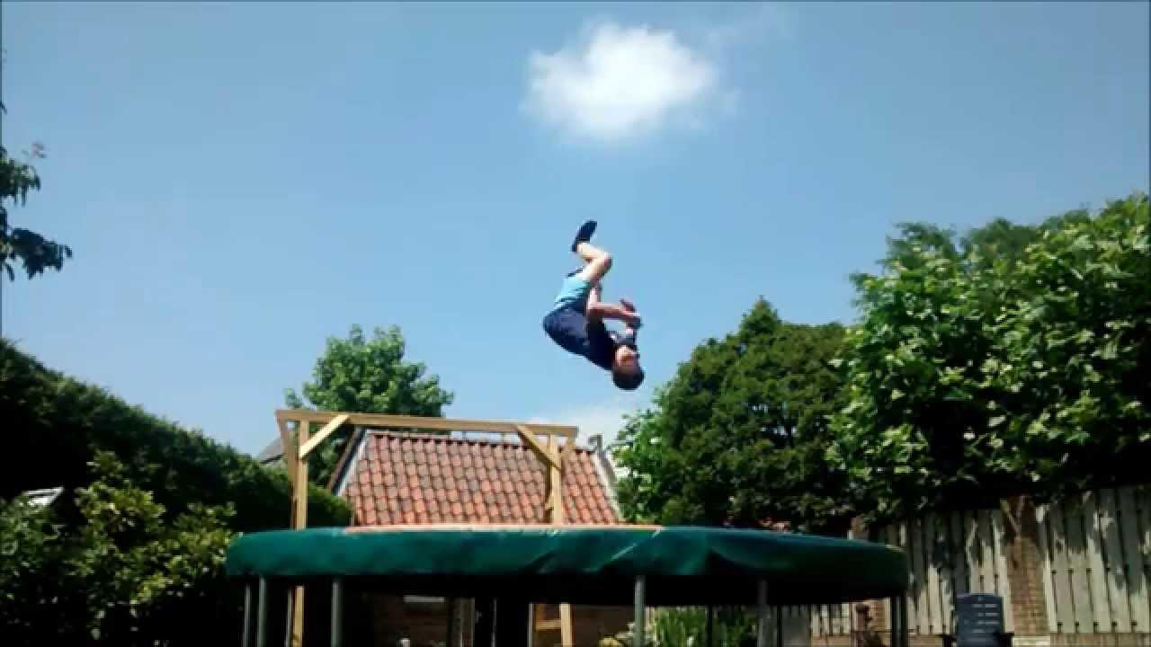 backyard trampoline tricks youtube