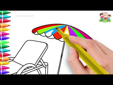 Drawing Beach Umbrella & Bench Drawing Paint And Colouring For Kids #kidsdrawingtv