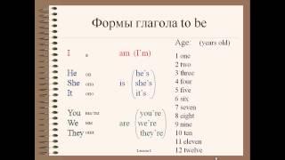Английский для начинающих. Видеоуроки. Урок 2. Глагол to be (am, is, are), цифры, возраст