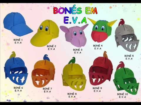 Bonés E.V.A - Festa Infantil - YouTube ef63d992804