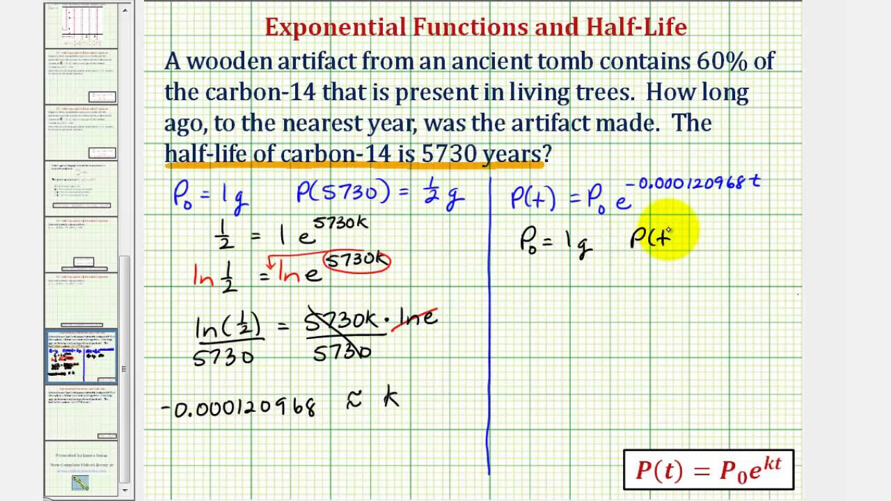 Exponential decay radio carbon dating problems