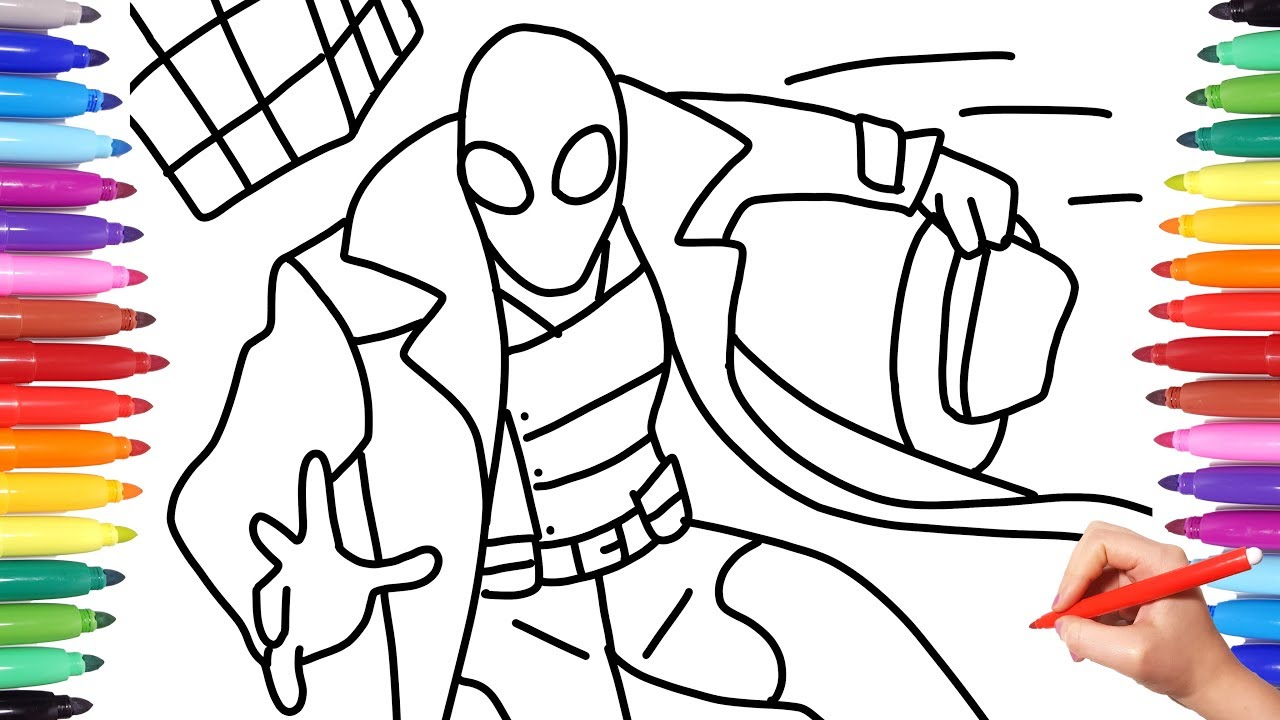 Spider-man Noir from the Spiderverse  How to draw Spiderman Noir   Spiderman Coloring Videos