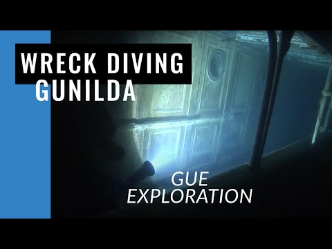 GUE Divers explore the Gunilda shipwreck
