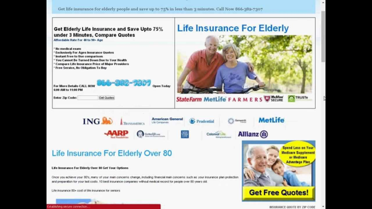 Senior Life Insurance Quote Life Insurance For 81 Year Old Male  Youtube