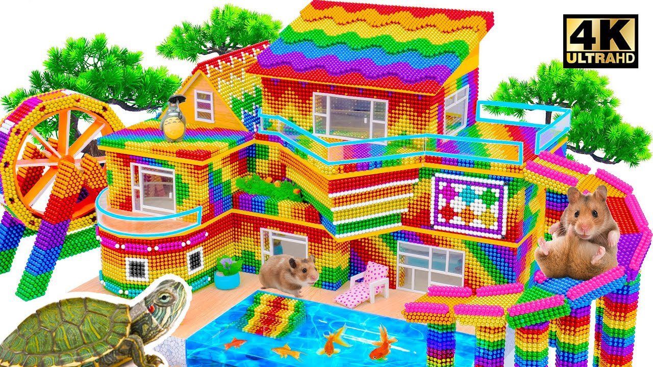 ASMR Video | How To Build Private 3 Story Modern Mud With Rainbow Slide To Swimming Pool