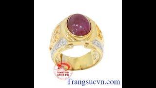 Chiếc Nhẫn nam ruby đẹp, Nhẫn nam Ruby, Nhẫn ruby vàng hổ, nhẫn hổ,TSVN017653