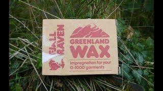 applying greenland wax on fjallraven vidda pro trousers