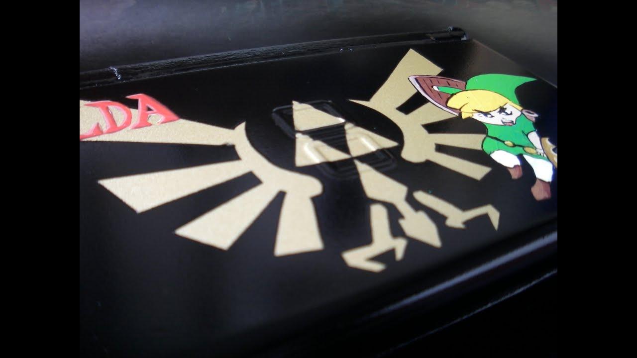 Custom Paint Nintendo Ds Lite Dsl With Zelda Triforce By