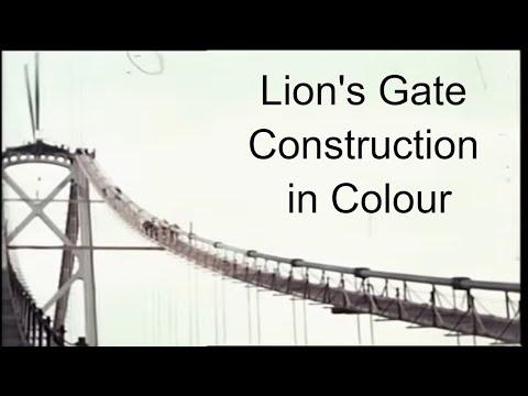 1938 Colour film footage of the construction of the Lion's Gate Bridge