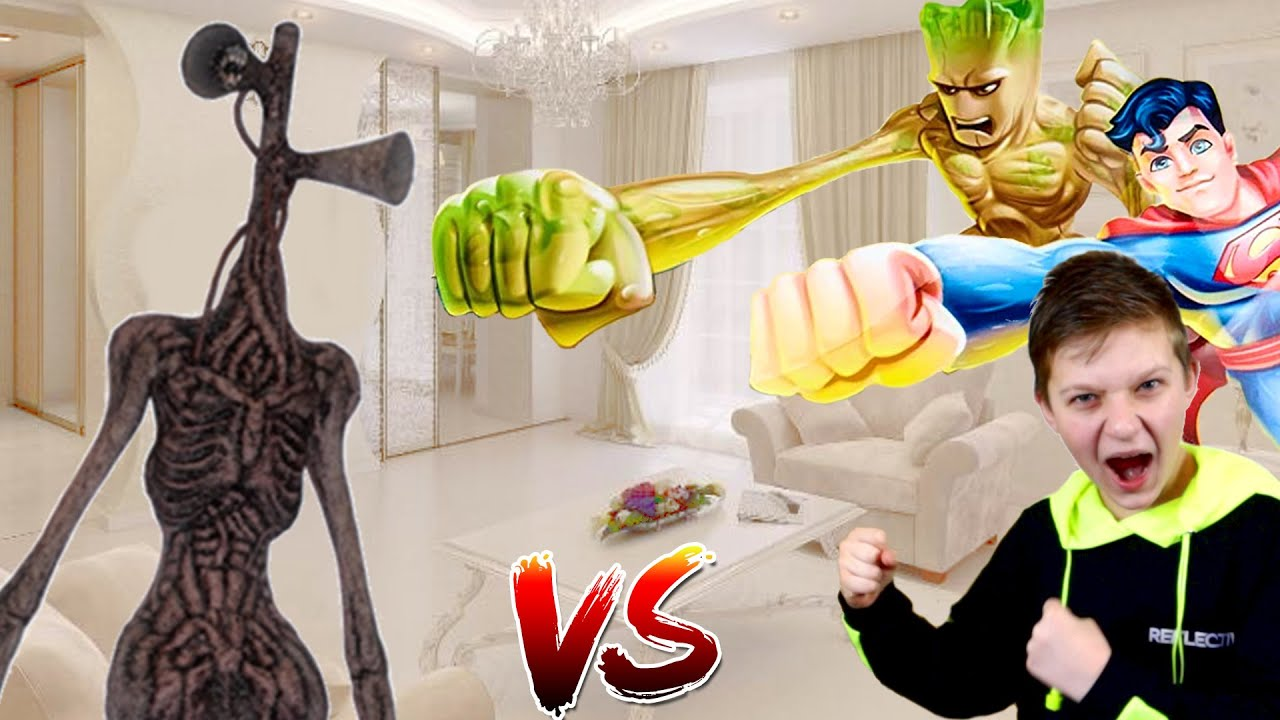 Команда СУПЕРГЕРОИ Marvel и DC против команды Сиреноголового! Super Heroes Team VS Team Siren Head!