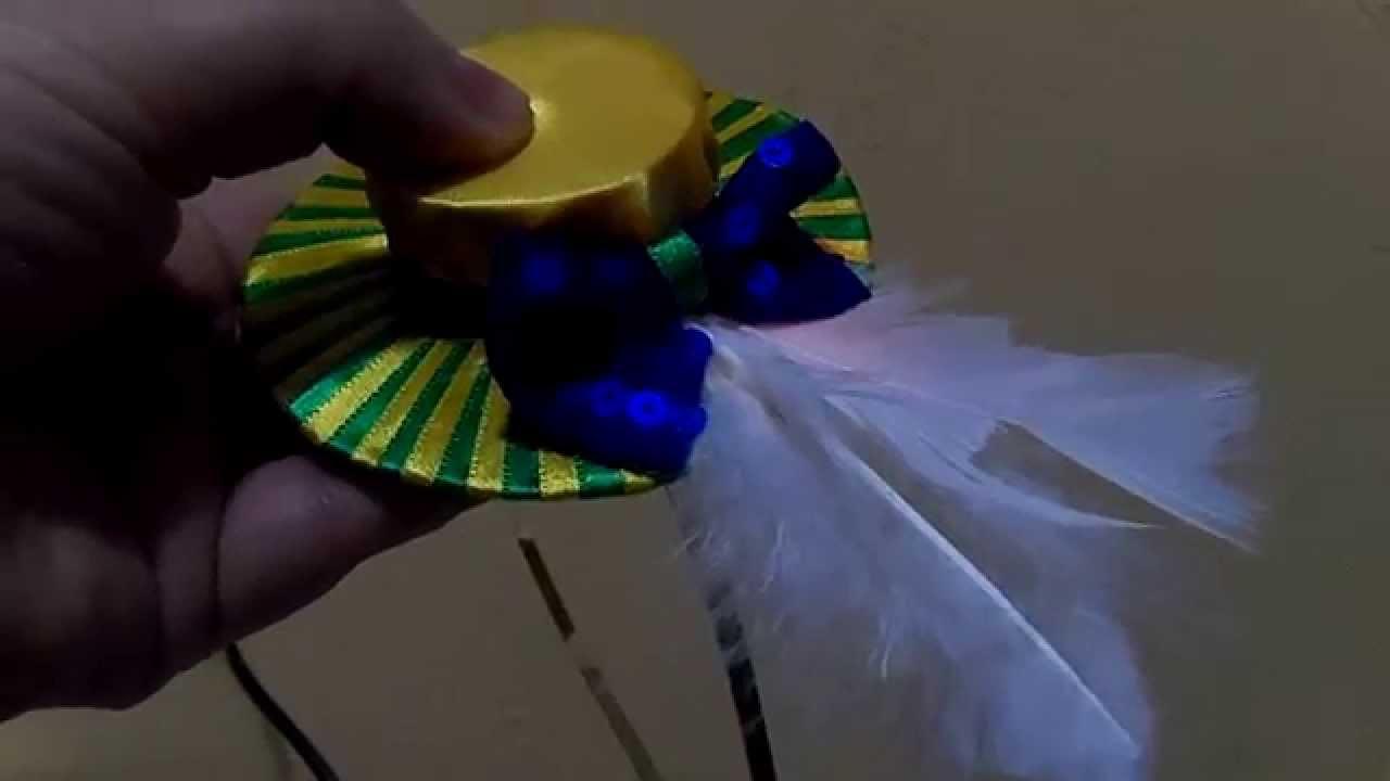 Como fazer mini chapéu para tiara - YouTube 8608b93abb9