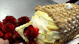 Украшение тортов | Как легко украсить торт в форме букета роз