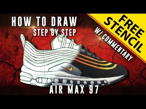 4bd45304be9f9e How To Draw - Step by Step  Nike Air Max 97 w  Downloadable Stencil