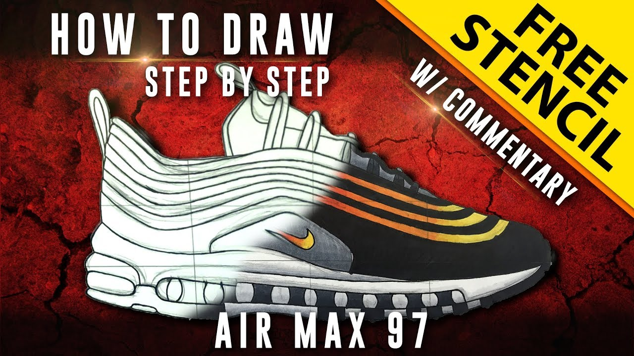 info for 531f0 193c5 How To Draw - Step by Step  Nike Air Max 97 w  Downloadable Stencil