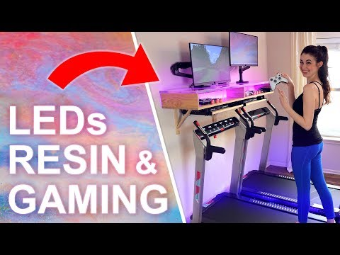 DIY Treadmill Gaming Desk (with Galaxy RESIN & LEDs)
