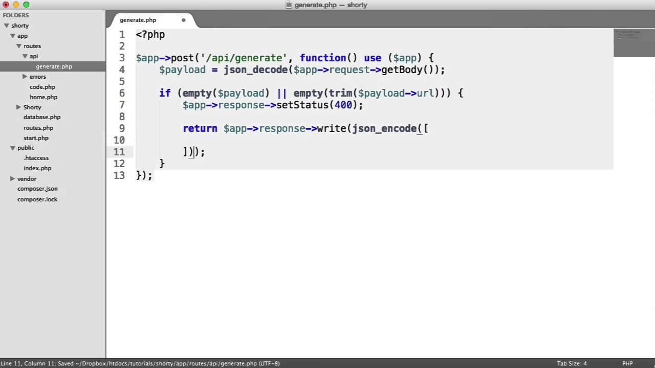 Create a URL Shortener API in PHP: Generating URLs (8/11)