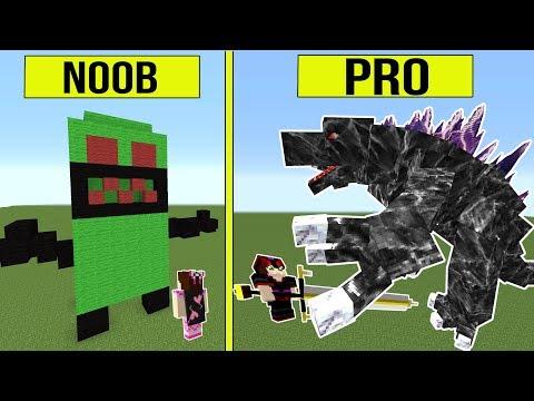 Minecraft: NOOB VS PRO!! - GODZILLA! - Modded Challenge