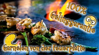 🍤 GARNELEN perfekt Grillen! Saftig und lecker mit 🍜 ASIAGEMÜSE von der Feuerplatte♨️!
