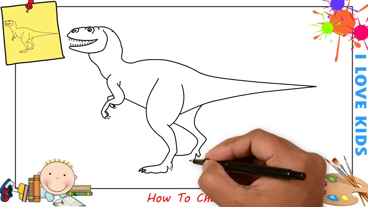 How to draw a dinosaur easy step by step for kids beginners children update