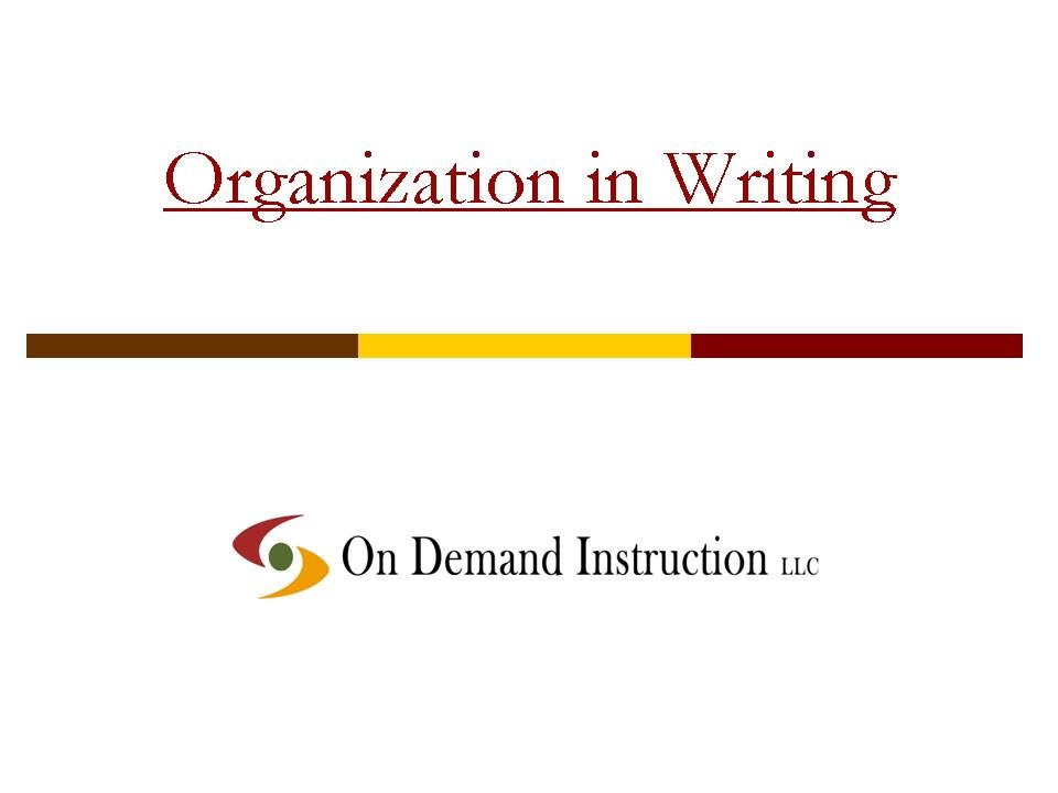 Organization in Writing - YouTube