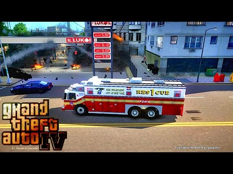Grand Theft Auto IV - FDLC/FDNY - Day 38 with the fire department! (RESCUE 1) WORST DAY