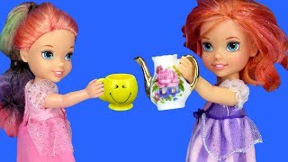 TEA PARTY ! Elsa and Anna toddlers visit Barbie & Chelsea - playdate thumbnail