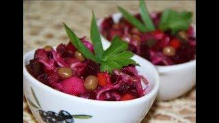 Рецепт классического салата Винегрет с квашеной капустой