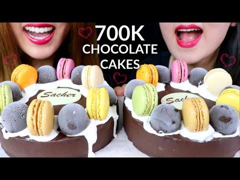 ASMR CHOCOLATE CAKE (Rainbow Macarons + Ice Cream Bon Bons) 초콜릿 케이크 리얼사운드 먹방 ケーキ केक | Kim&Liz ASMR