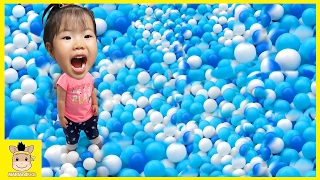 Indoor playground tayo the little bus garage kids toys slide colors balls play | MariAndKids Toys