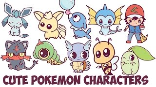 How to Draw Cute Pokemon Characters Chibi Kawaii Easy Step by Step Drawing for Kids and Beginners
