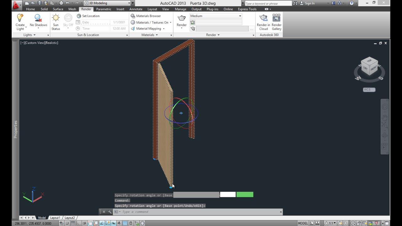 Puerta 3D - AutoCAD - YouTube