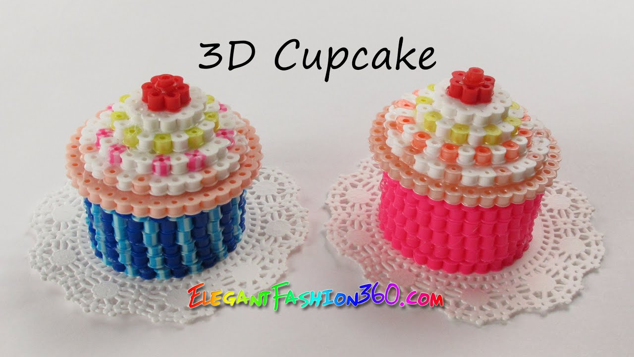 diy perler hama beads cupcake 3d how to tutorial by elegant