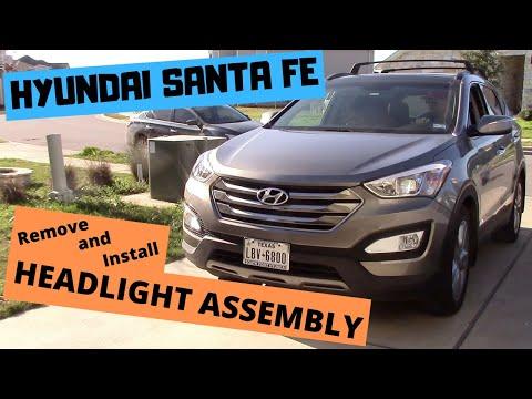 How to replace HEADLIGHT ASSEMBLY (headlamp) on Hyundai Santa Fe 2013-2017