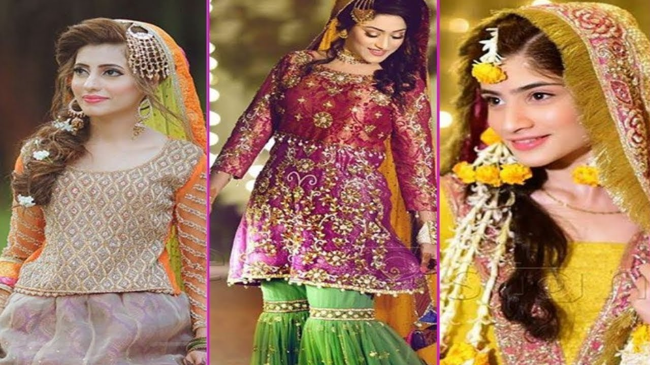Mehndi Clothes For Brides : Latest pakistani and indian beautiful bridal dresses for mayon
