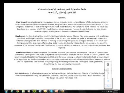 Land and Fish Grabs Consultation Call