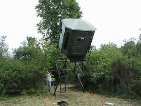 Raising A Quot Redneck Hunting Blind Quot With An Atv Winch Youtube