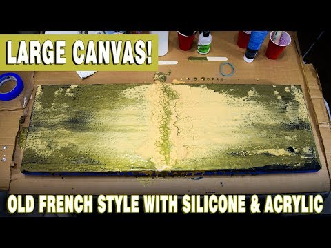 Fluid Art Painting - Old French Style with Silicone Acrylic on Canvas Swipe Technique
