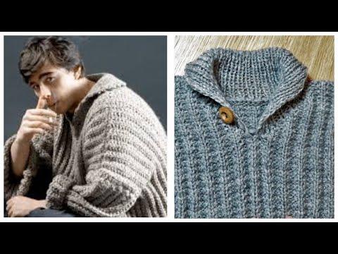 Мужской свитер грубой вязки спицами