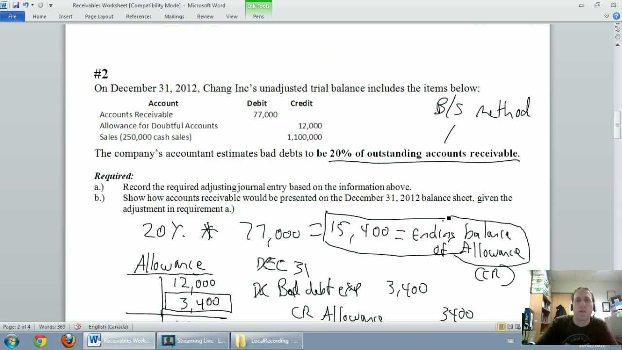 accounting unit 5 part 3 allowance for doubtful accounts