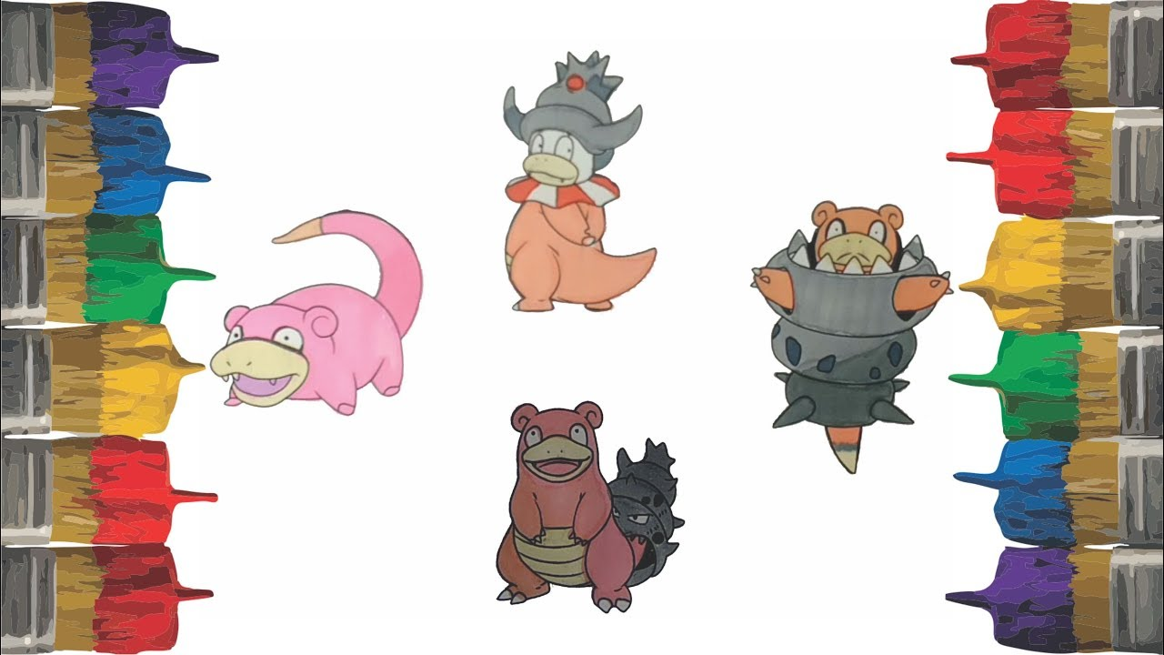 Pokemon Coloring Pages For Kids Draw Pintar Slowpoke Slowbro Slowking And Mega Slowbro